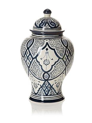 Hand-Painted Ceramic Jar (Blue/White)