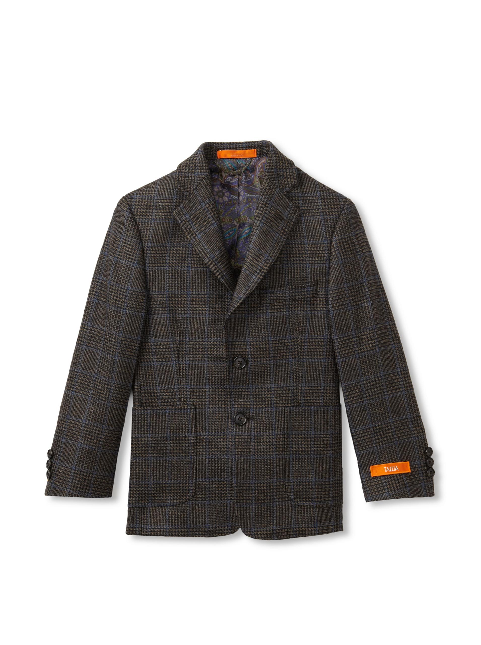 Tallia Orange Boy's Wool Sportcoat (Olive Windowpane Plaid)
