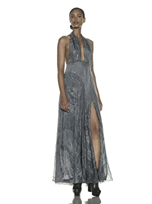 Costume National Women's Metallic Jacquard Halter Dress (Silver Blue)