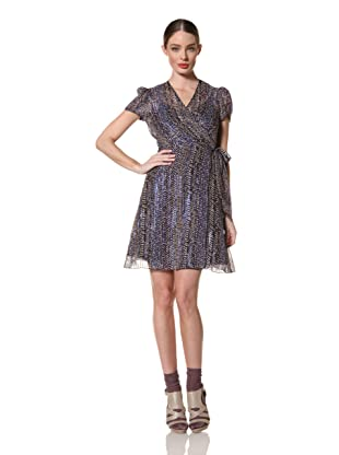 Anna Sui Women's Abstract Jacquard Wrap Dress (Electric Blue Multi)