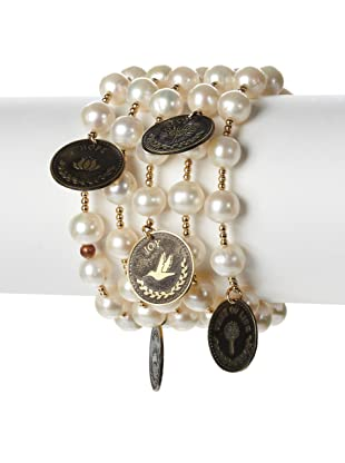 Mercedes Salazar Multi-Charm Pearl Bracelet, White