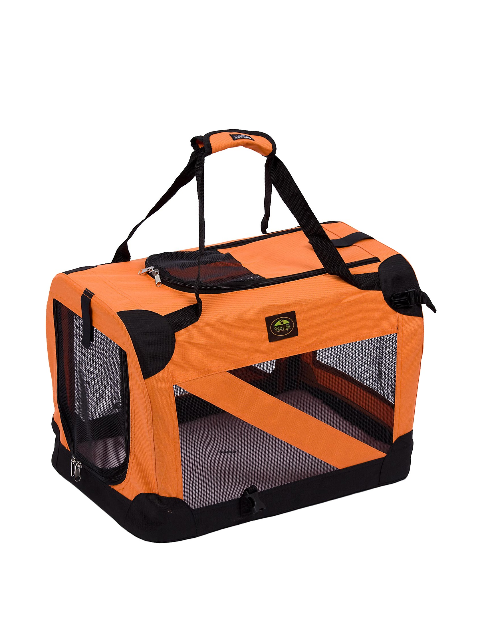 Pet Life 360 Vista View Soft Folding Metal Frame Pet Crate (Orange)