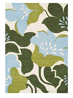 Horizon Alliyah Collection Bold Flowers Rug (Cream/Green/Blue Multi)