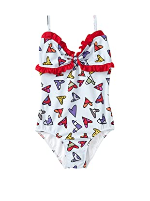 SUBMARINE by Romero Britto Girl's 1-Piece Ruffle Hearts Swimsuit (Multi Hearts)