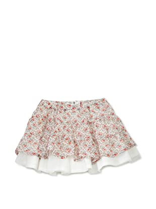 TroiZenfants Girl's Tiered Skirt (White Floral)