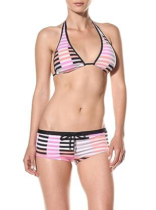 Puma Women's Techno Stripe Boyshort Bikini Bottom (Coral)