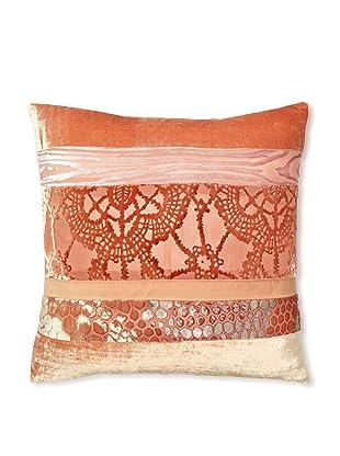 Kevin O'Brien Studio Patchwork Velvet Pillow, Papaya/Tangerine, 16