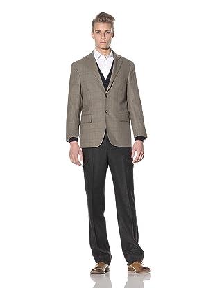 David Chu Men's Glen Plaid 2-Button Sport Jacket (Brown)