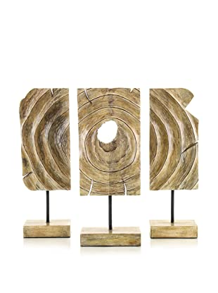 John-Richard Collection Hand-Carved Organic Wood Triptych
