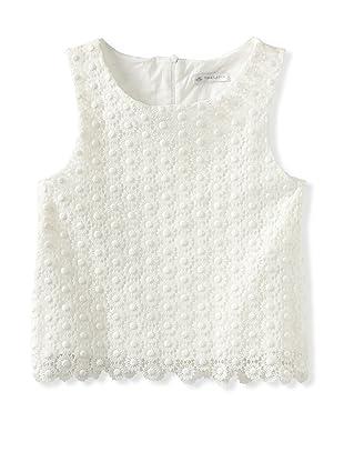Charabia Girl's Crochet Top (Ivory)