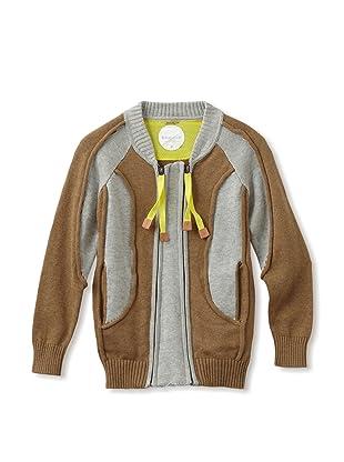 kicokids Boy's Track and Field Patchwork Zip Cardigan (Khaki/ grey)