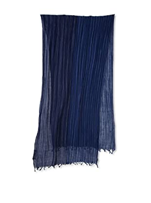Amicale Men's Variegated Stripe Scarf (Navy/Silver)