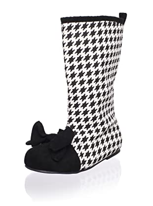 Joyfolie Kid's Houndstooth Boots (Black/Cream)