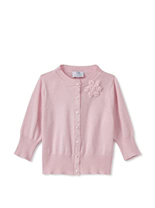 Baby CZ Girl's Cropped Cardigan with Orchid Bouquet (Pink)