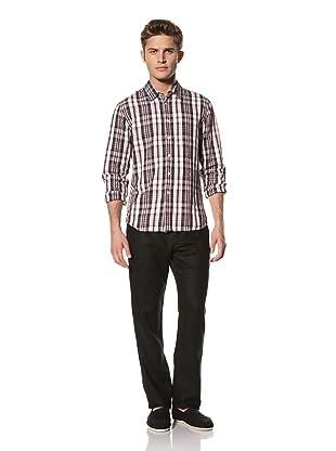 Creep by Hiroshi Awai Men's Long Sleeve Point Collar Linen Shirt (Navy Check)