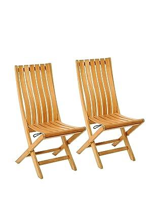 Les Jardins Set of 2 Pergolatek Folding Chairs, Teak