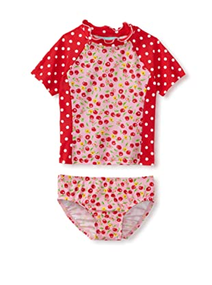 Bathing Beauty by Mack & Co Girl's Cherry Dot Rashguard Swim Set (Cherry)