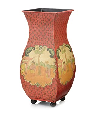 Abigails Mandarin-Inspired Tole Coral Vase with Ball Feet and Liner
