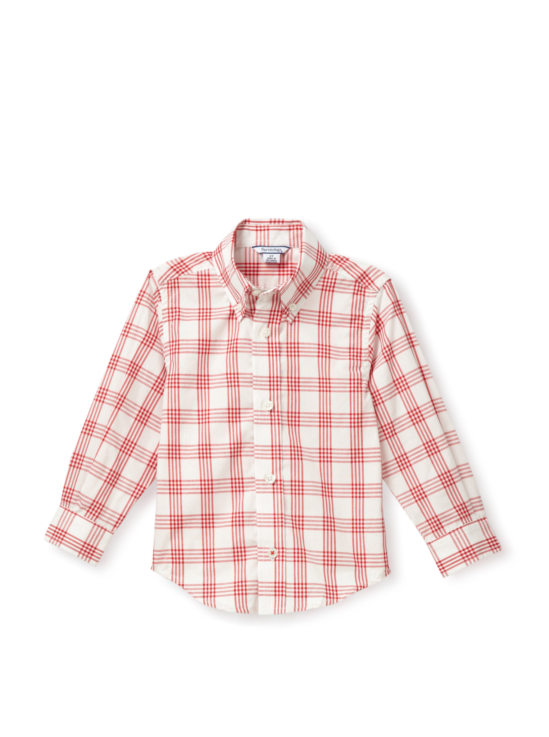 Hartstrings Boy's Family Portrait Plaid Button-Up Shirt (Toddler/Little Boy) (Red/White)