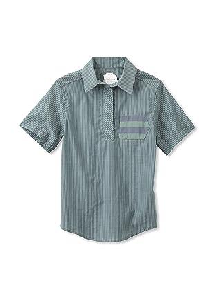 kicokids Boy's Short Sleeve Henley with Sideways Pocket (Grass)