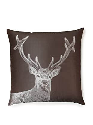 Rose and Iris Silk Jacquard and Down Pillow (Reindeer)