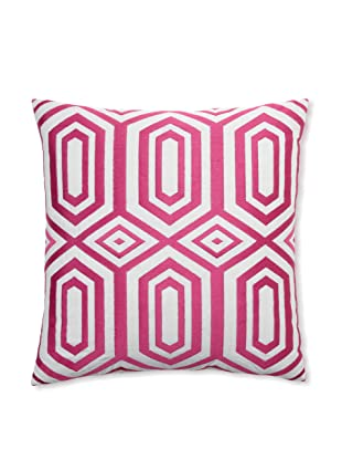 Peking Handicraft Hexagon Embroidered Linen Pillow, Pink, 20