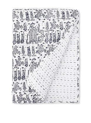 Jaipur Bedding Baraat Kantha Blanket (Indigo)