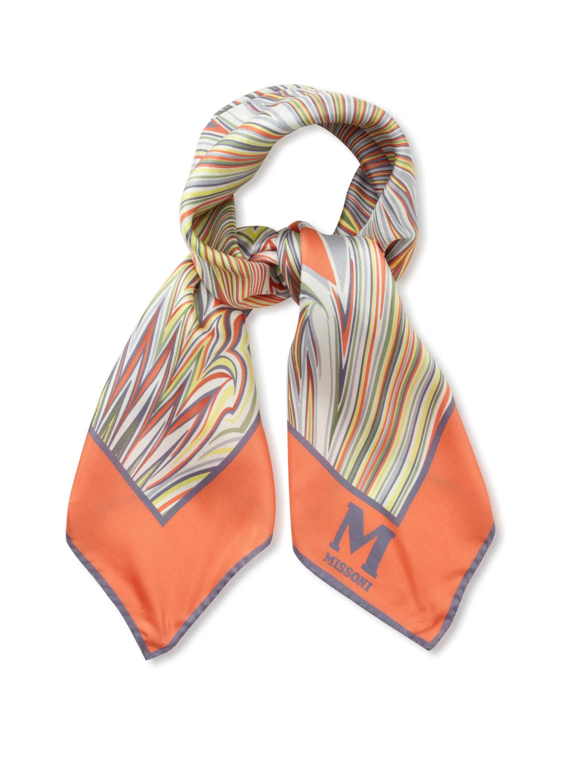 M Missoni Women's Printed Silk Scarf, Multicolored Orange, One Size