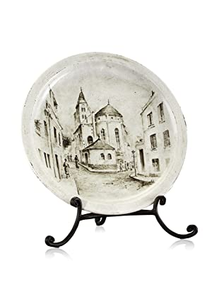 John-Richard Collection Hand-Painted European Street Scene Charger