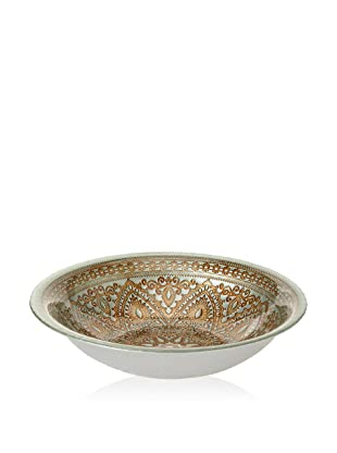 Arda Glassware Divine Shallow Bowl (Turquoise/Brown)