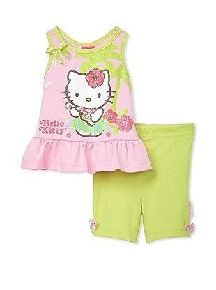 Hello Kitty Girls 2-Piece Shorts Set (Pink/Green)