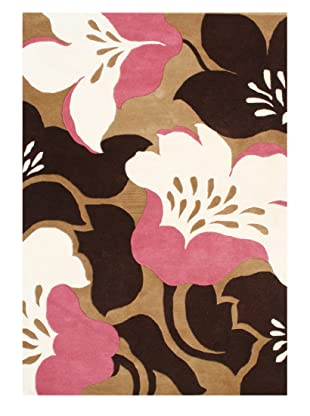 Horizon Alliyah Collection Bold Flowers Rug (Brown/Cream/Rose Multi)