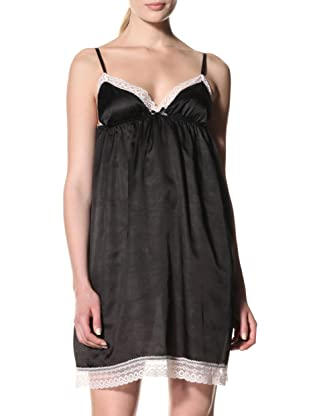 Toute la Nuit Women's Short Backless Nightie (Black/Blush)