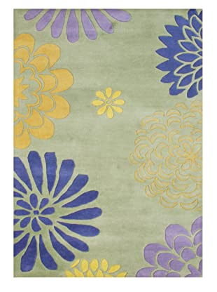 Horizon Alliyah Collection Flower Power Rug (Lime/Saffron Multi)