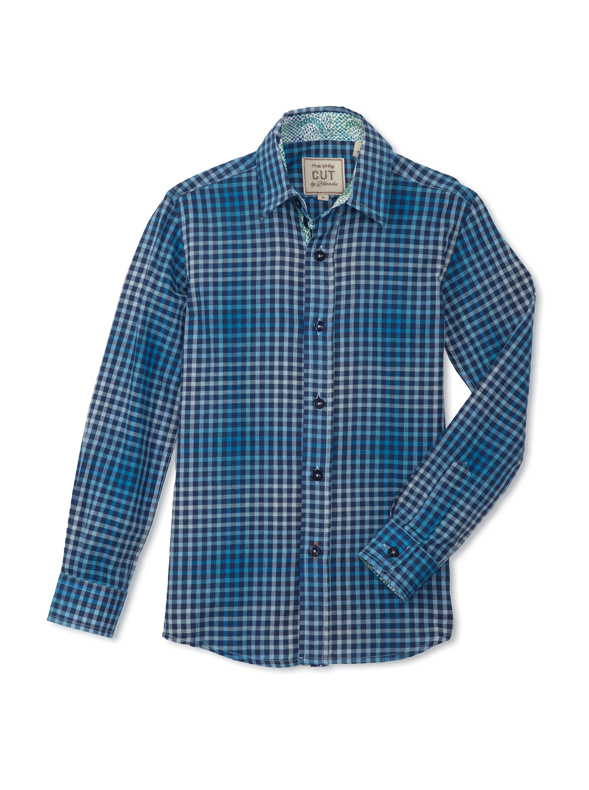 CUT By 2 Blondes Boys Check It Out Long-Sleeve Button-Up (Navy Check)