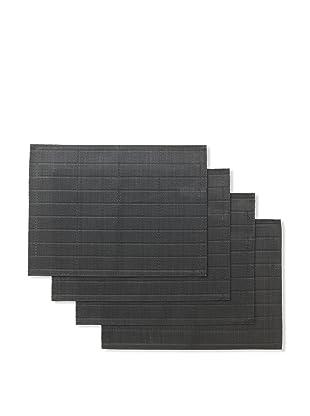 Winkler Set of 4 Bricks Jacquard Placemats (Black)