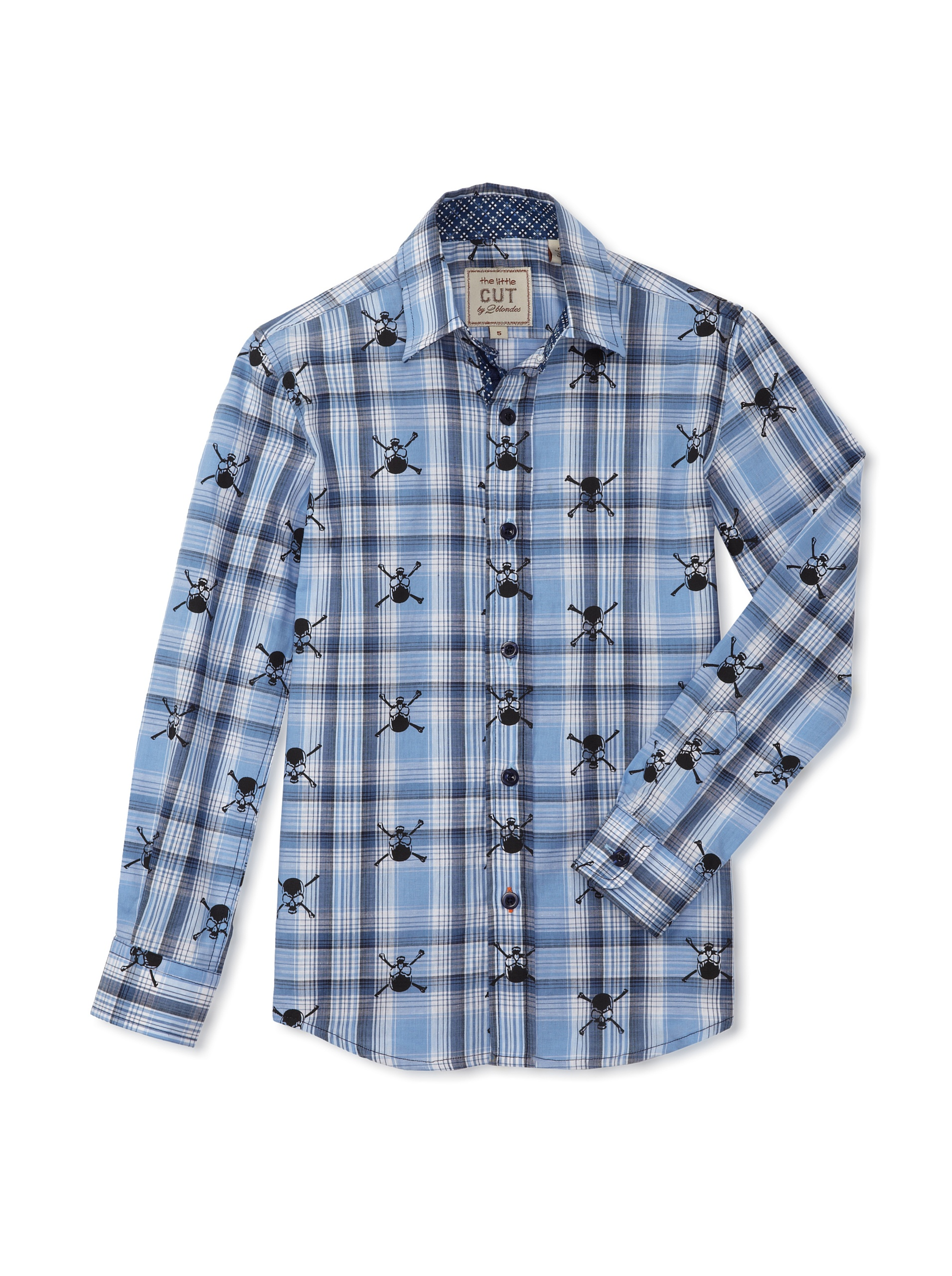 CUT By 2 Blondes Boys Hit A Snag Long-Sleeve Button-Up (Blue/White)