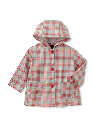 Mack & Co Girl's Hooded Raincoat (Red/Blue Plaid)