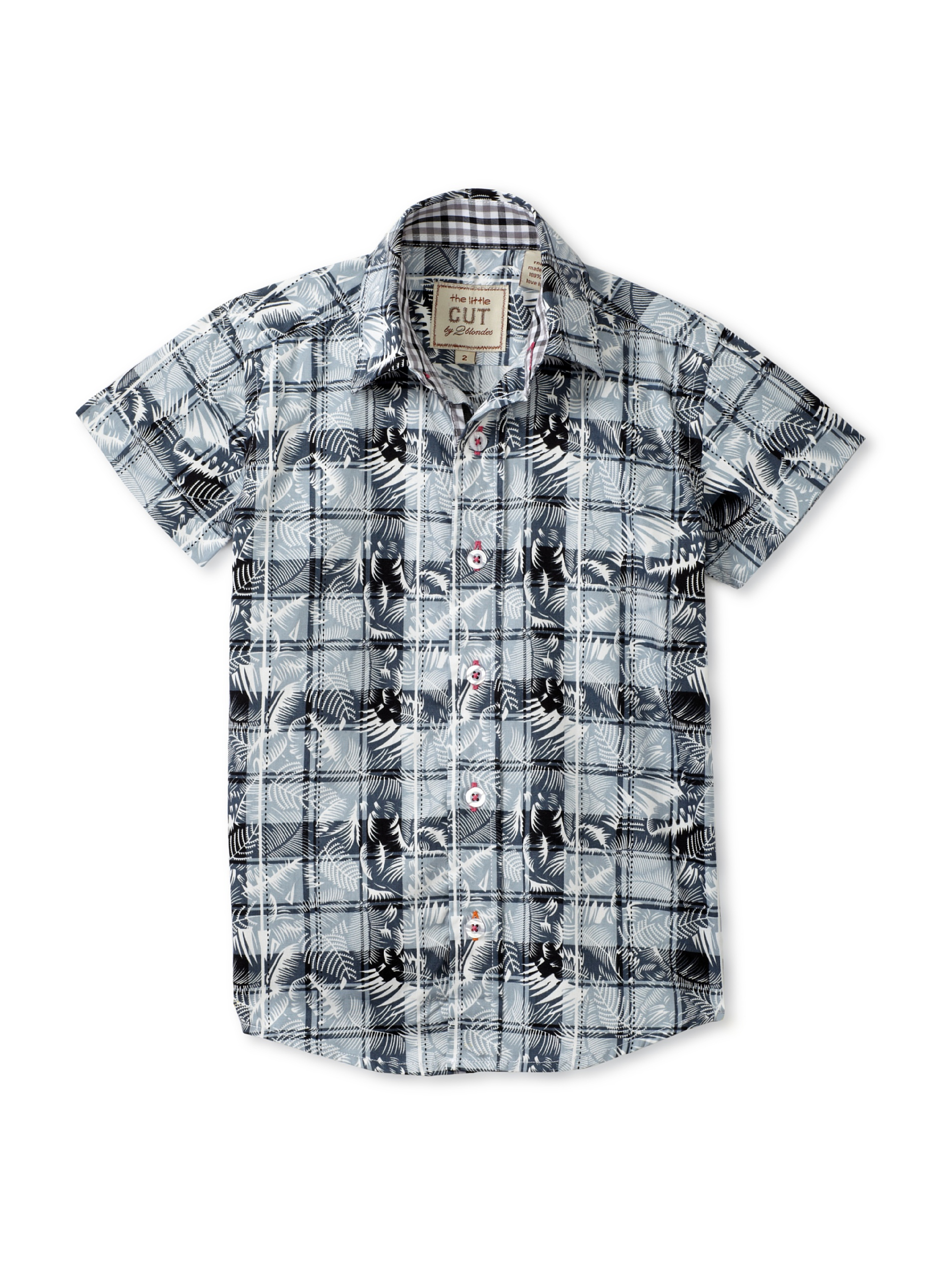 CUT By 2 Blondes Boys Hawaii 5-0 Short Sleeve Button-Up (Black/White)