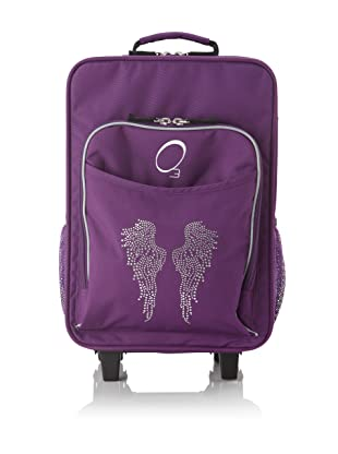 O3 Kids Rolling Luggage with Integrated Snack Cooler, Rhinestone Angel Wings