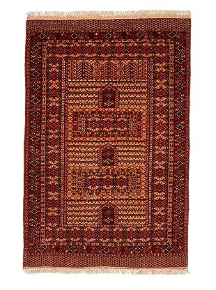 Roubini Old Afghan Rug with Silk Fringe (Multi)