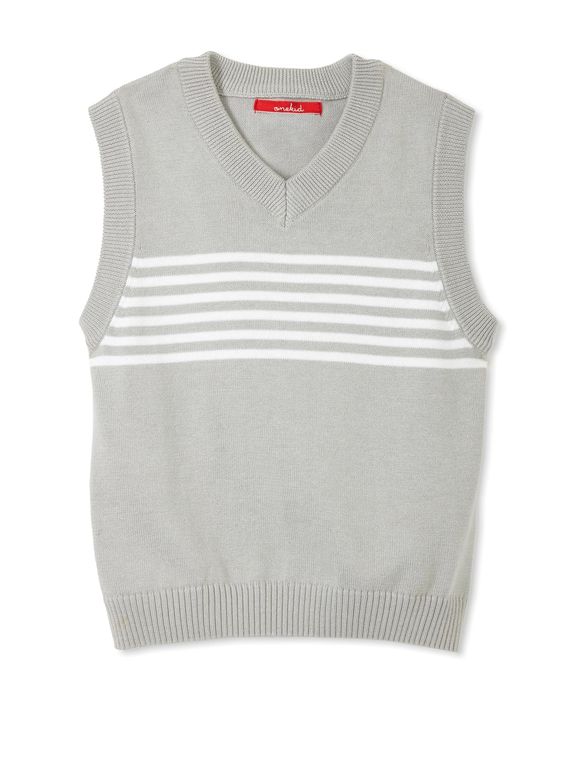 One Kid Boy's Striped Vest (Silver White)