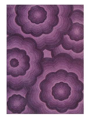 nuLoom Floral 3D Rug (Aubergine)