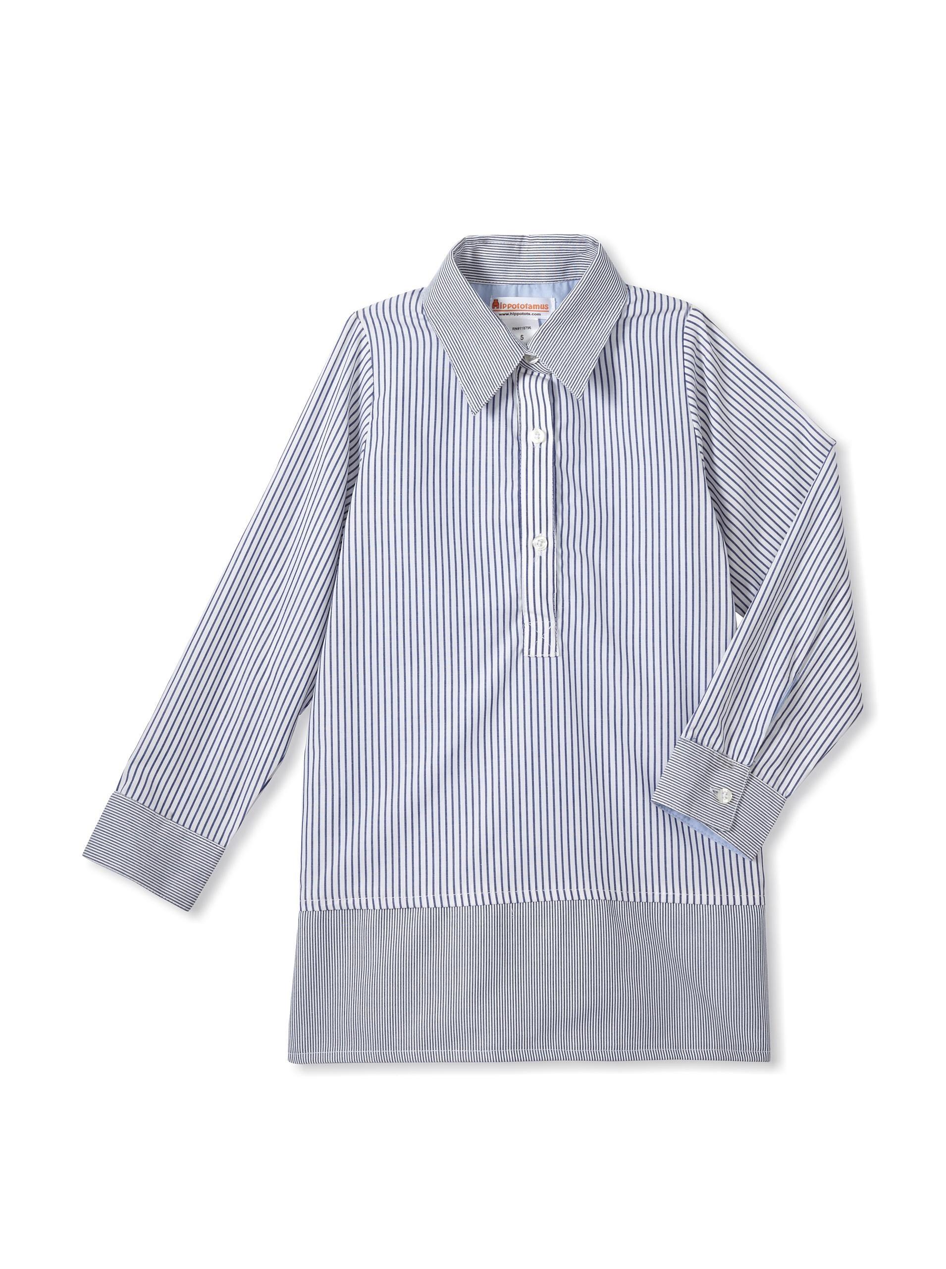 Hippototamus Button-Front Tunic Dress (Stripe)