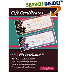 ISBN:1544131461 Gift Certificate Book (45 Pre-prepared Certificates, ready-made) by Easyforms 