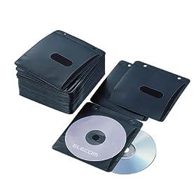 【クリックでお店のこの商品のページへ】ELECOM CCD-019LBK 不織布CD/DVDケース(両面収納)
