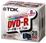 TDK DVD-Rデータ用 1~8倍速対応ワイドプリンタブル 5mm厚ケース入り20枚パック [DVD-R47PWX20K]