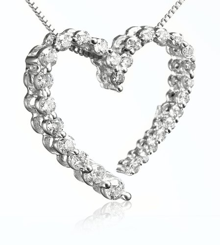 14k White Gold Journey Diamond Heart Shaped Pendant (1/4 cttw, H-I Color, I1 Clarity)
