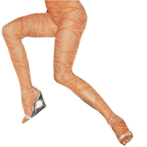 Lycra Opaque and Sheer Woven Swirl Pattern Tights