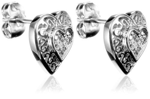 10k White Gold Diamond Heart Earrings (1/4 cttw, H-I Color, I2 Clarity)